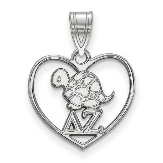 SS040DZ: Sterling Silver LogoArt Delta Zeta Heart Pendant