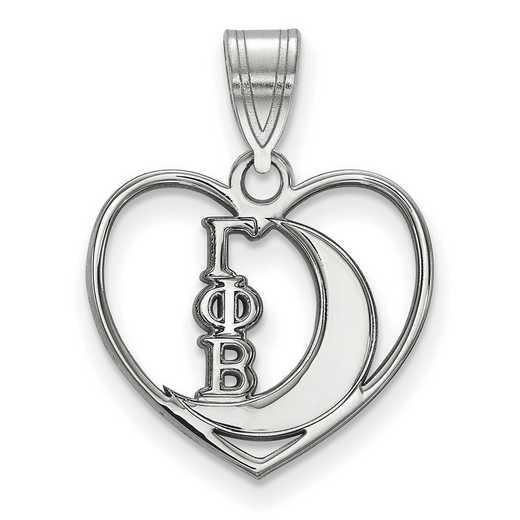 SS040GPB: Sterling Silver LogoArt Gamma Phi Beta Heart Pendant