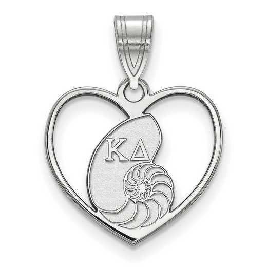 SS040KD: Sterling Silver LogoArt Kappa Delta Heart Pendant