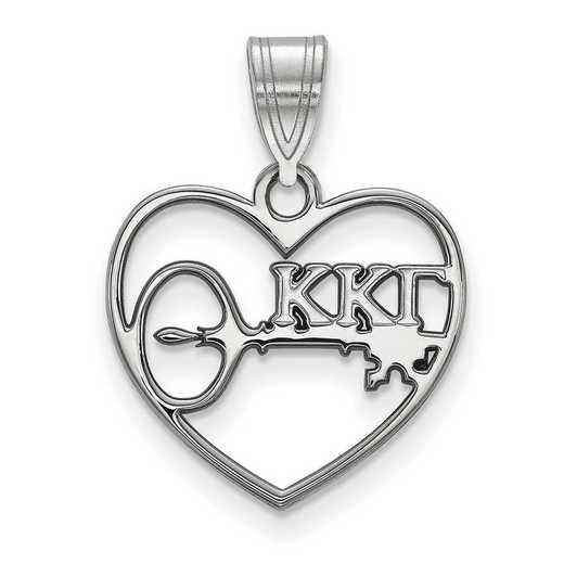 SS040KKG: Sterling Silver LogoArt Kappa Kappa Gamma Heart Pendant