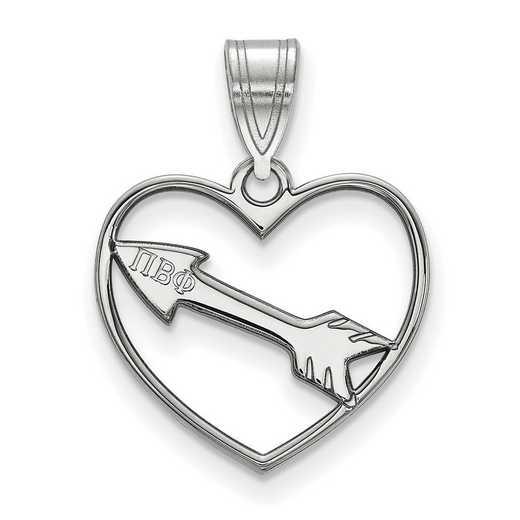 SS040PBP: Sterling Silver LogoArt Pi Beta Phi Heart Pendant