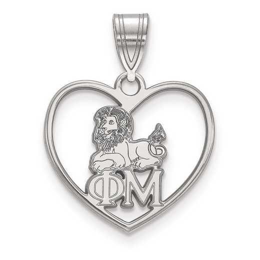 SS040PHM: Sterling Silver LogoArt Phi Mu Heart Pendant
