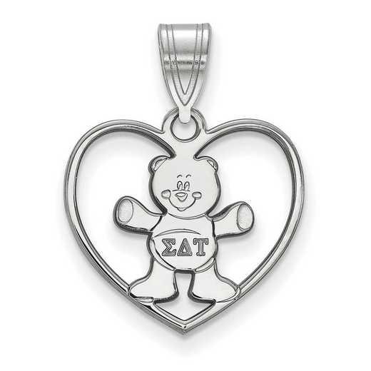 SS040SDT: Sterling Silver LogoArt Sigma Delta Tau Heart Pendant