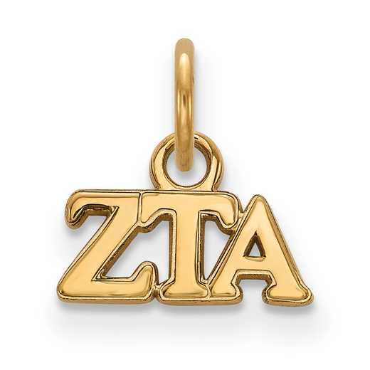 GP001ZTA: Sterling Silver w/GP LogoArt Zeta Tau Alpha XS Pendant