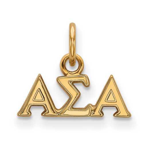 GP001ASI: Sterling Silver w/GP LogoArt Alpha Sigma Alpha XS Pendant