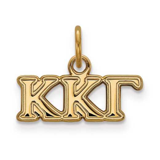 GP001KKG: Sterling Silver w/GP LogoArt Kappa Kappa Gamma XS Pendant