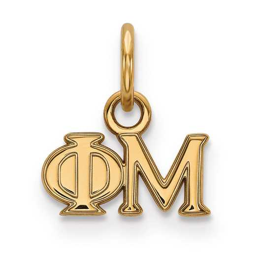 GP001PHM: Sterling Silver w/GP LogoArt Phi Mu XS Pendant