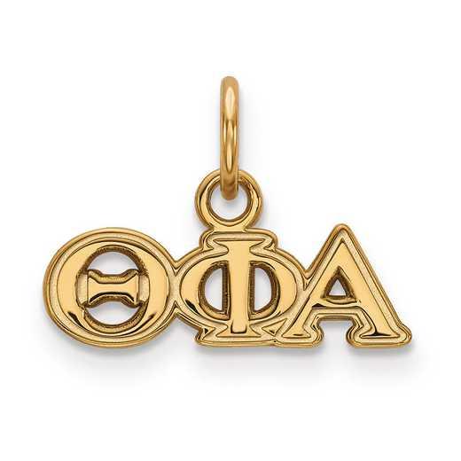 GP001TPA: Sterling Silver w/GP LogoArt Theta Phi Alpha XS Pendant