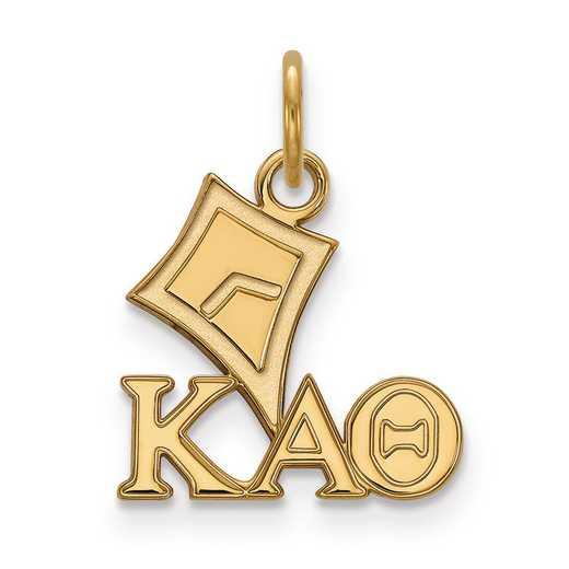 GP034KAT: Sterling Silver w/GP LogoArt Kappa Alpha Theta XS Pendant