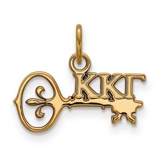 GP034KKG: Sterling Silver w/GP LogoArt Kappa Kappa Gamma XS Pendant