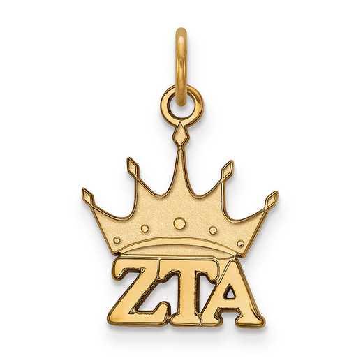 GP034ZTA: Sterling Silver w/GP LogoArt Zeta Tau Alpha XS Pendant