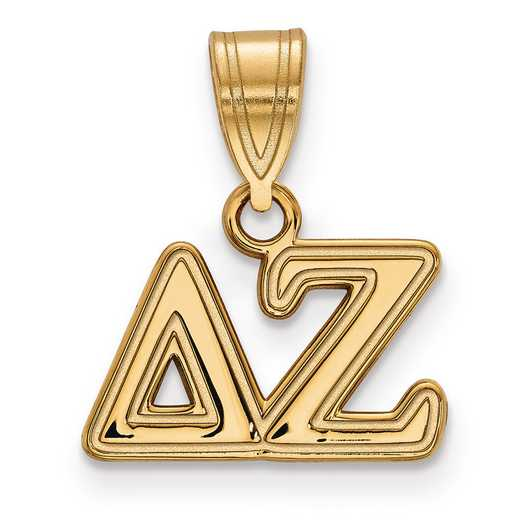 GP003DZ: Sterling Silver w/GP LogoArt Delta Zeta Medium Pendant