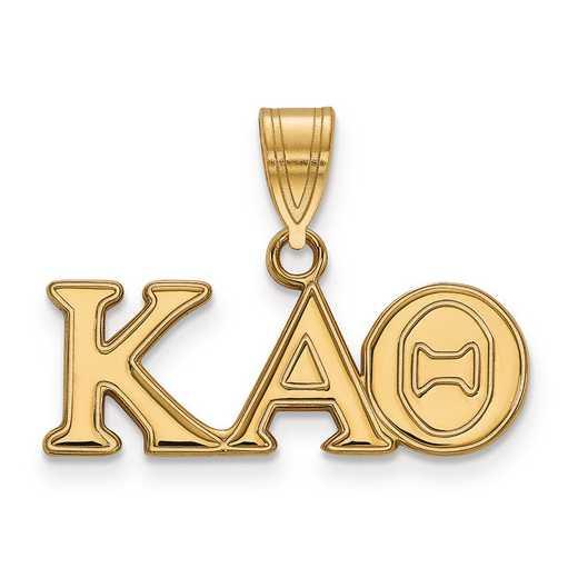 GP003KAT: SterlingSilver w/GP LogoArt Kappa Alpha Theta Medium Pendant