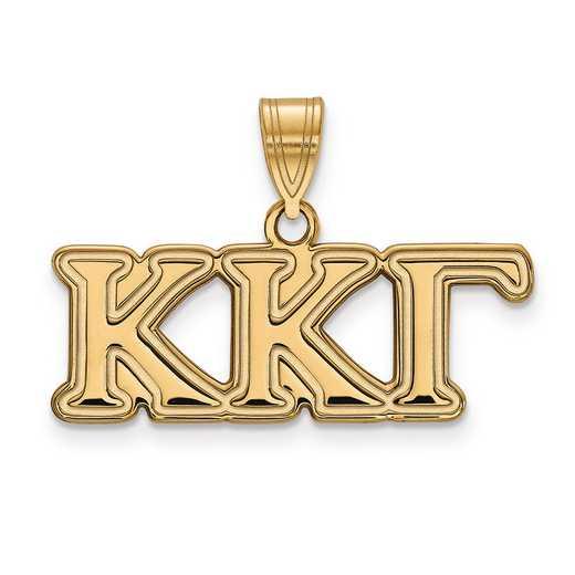 GP003KKG: SterlingSilver w/GP LogoArt Kappa Kappa Gamma Medium Pendant