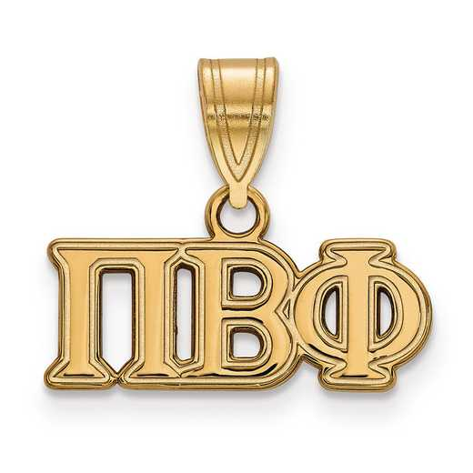 GP003PBP: Sterling Silver w/GP LogoArt Pi Beta Phi Medium Pendant