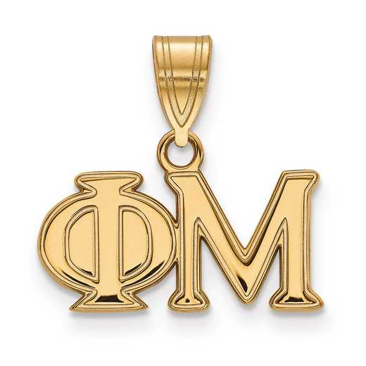 GP003PHM: Sterling Silver w/GP LogoArt Phi Mu Medium Pendant