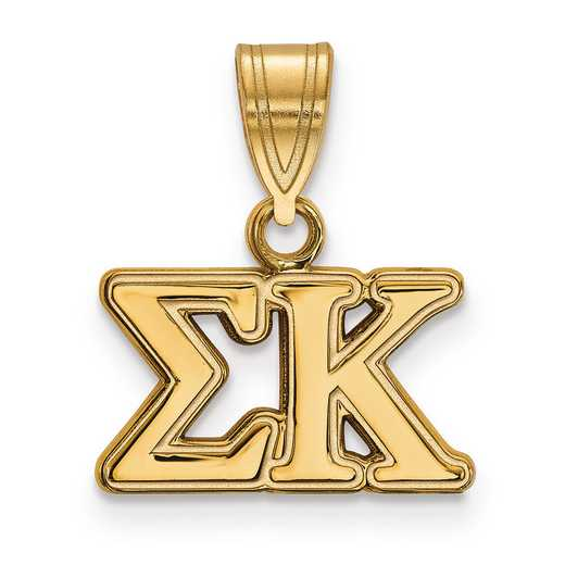 GP003SKP: Sterling Silver w/GP LogoArt Sigma Kappa Medium Pendant