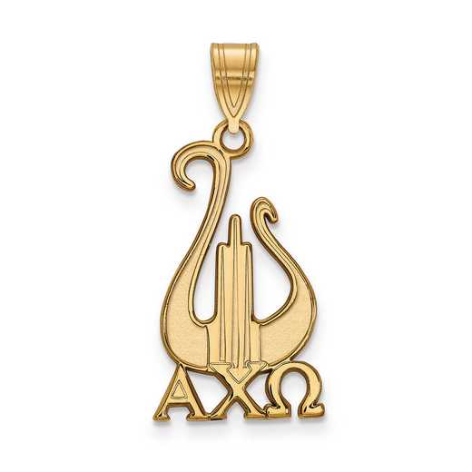 GP036ACO: Sterling Silver w/GP LogoArt Alpha Chi Omega Large Pendant