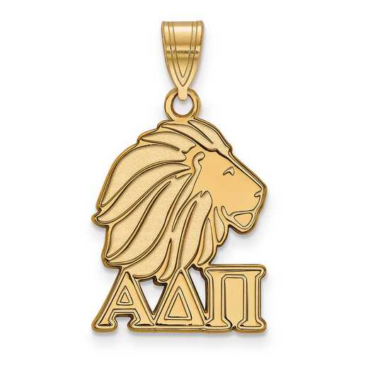 GP036ADP: Sterling Silver w/GP LogoArt Alpha Delta Pi Medium Pendant
