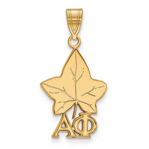 GP036APH: Sterling Silver w/GP LogoArt Alpha Phi Medium Pendant
