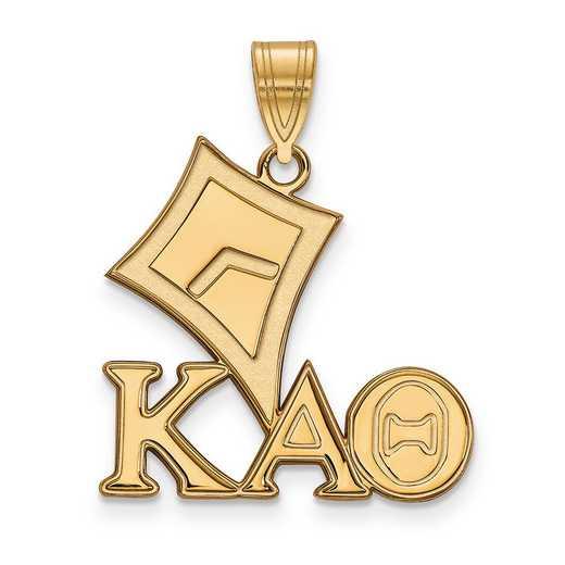 GP036KAT: SterlingSilver w/GP LogoArt Kappa Alpha Theta Medium Pendant