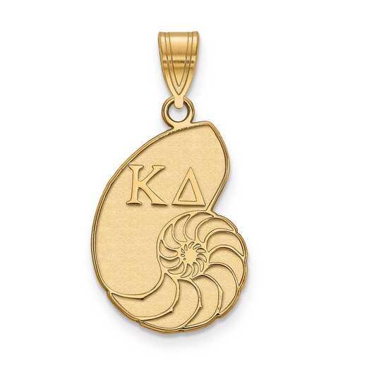 GP036KD: Sterling Silver w/GP LogoArt Kappa Delta Medium Pendant
