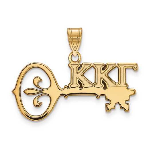 GP036KKG: SterlingSilver w/GP LogoArt Kappa Kappa Gamma Medium Pendant