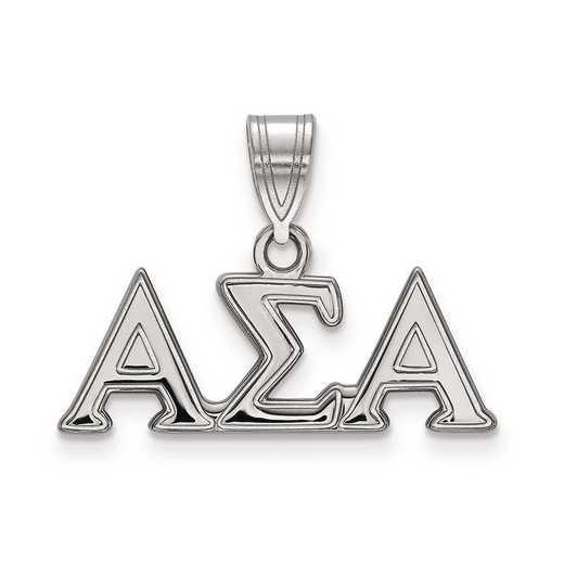 SS003ASI: Sterling Silver LogoArt Alpha Sigma Alpha Medium Pendant