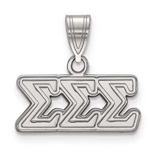 SS003SSS: Sterling Silver LogoArt Sigma Sigma Sigma Medium Pendant