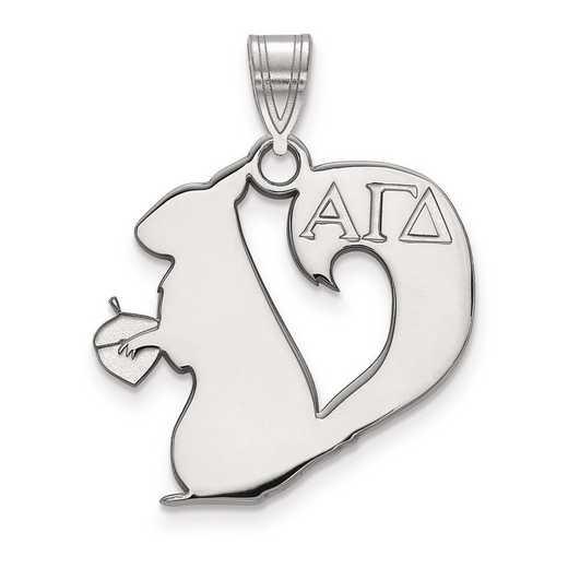 SS036AGD: Sterling Silver LogoArt Alpha Gamma Delta Medium Pendant