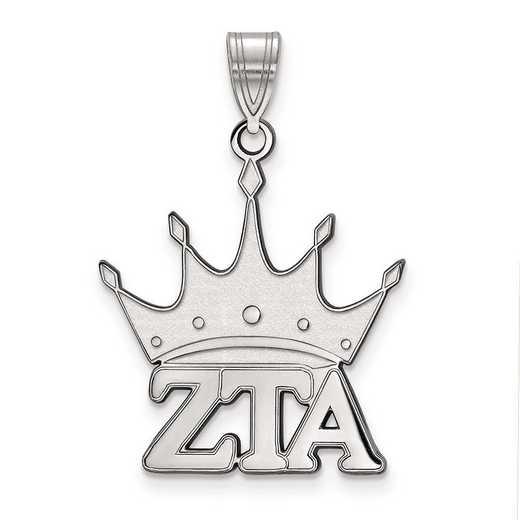 SS036ZTA: Sterling Silver LogoArt Zeta Tau Alpha Medium Pendant