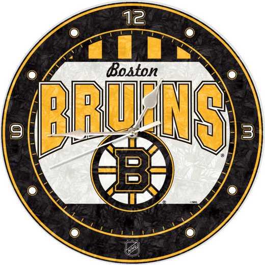 NHL-BBR-274: MC 12in Art Glass Clock-Bruins