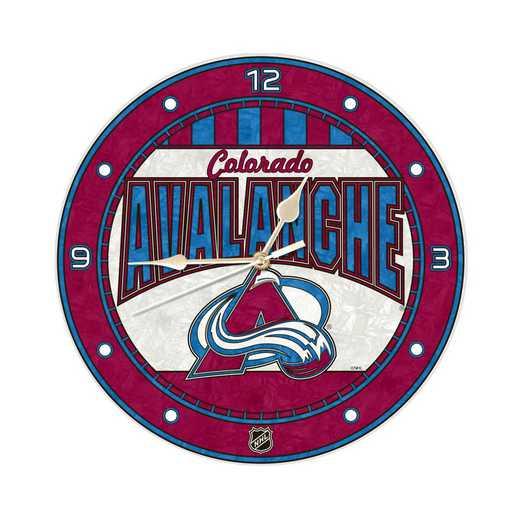 NHL-CAV-274: MC 12in Art Glass Clock-Avalanche