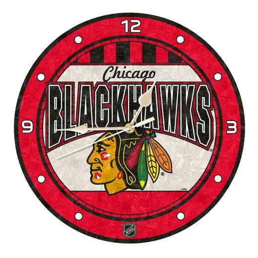 NHL-CBH-274: MC 12in Art Glass Clock-Blackhawks