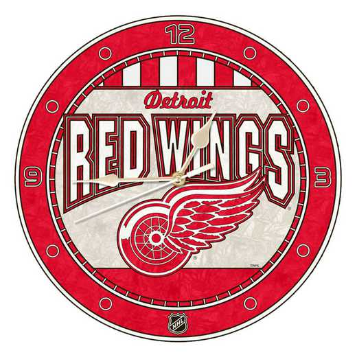 NHL-DRW-274: MC 12in Art Glass Clock-Red Wings