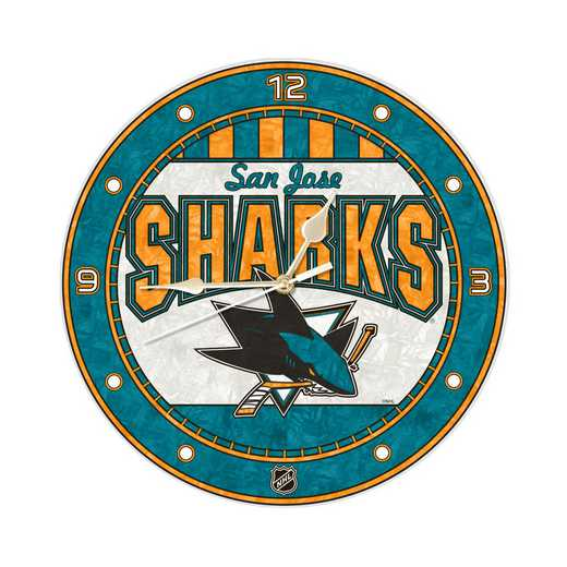 NHL-SJS-274: MC 12in Art Glass Clock-Sharks