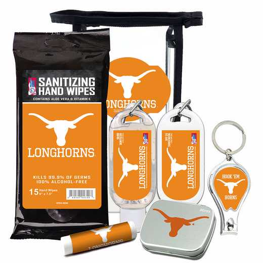 TX-UT-6PPK: Texas Longhorns Fan Kit with Mint Tin- Clippers- Sanitizer- Lip Balm- Sunscreen- Wipes