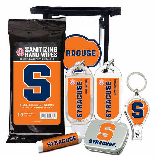 NY-SU-6PPK: Syracuse Orange Fan Kit with Mint Tin- Clippers- Sanitizer- Lip Balm- Sunscreen- Wipes