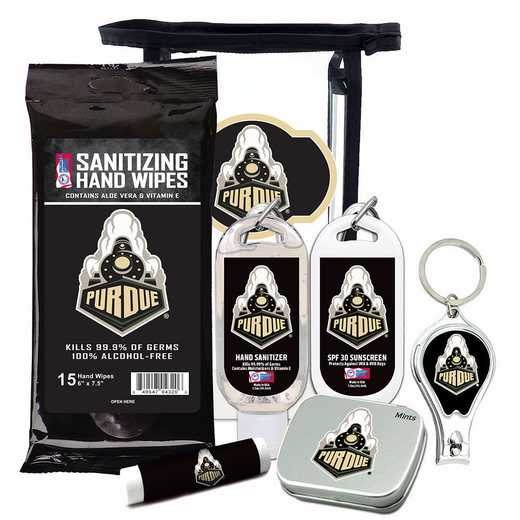 IN-PU-6PPK: Purdue Boilermakers Fan Kit with Mint Tin- Clippers- Sanitizer- Lip Balm- Sunscreen- Wipes