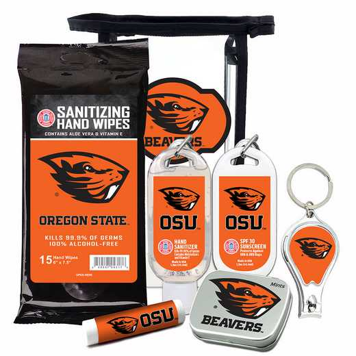 OR-OSU-6PPK: Oregon State Beavers Fan Kit with Mint Tin- Clippers- Sanitizer- Lip Balm- Sunscreen- Wipes
