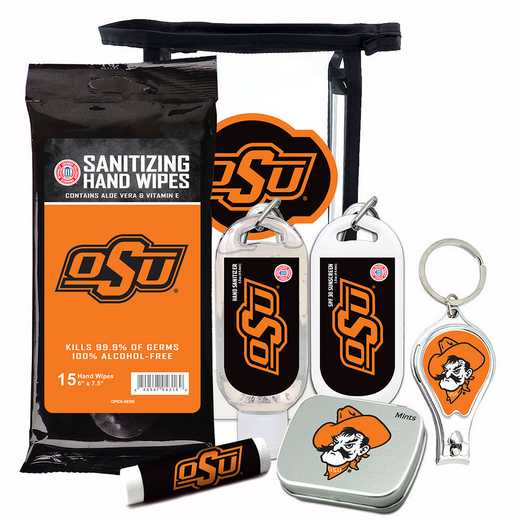 OK-OSU-6PPK: Oklahoma State Cowboys Fan Kit with Mint Tin- Clippers- Sanitizer- Lip Balm- Sunscreen- Wipes