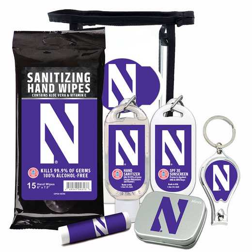 IL-NU-6PPK: Northwestern Wildcats Fan Kit with Mint Tin- Clippers- Sanitizer- Lip Balm- Sunscreen- Wipes