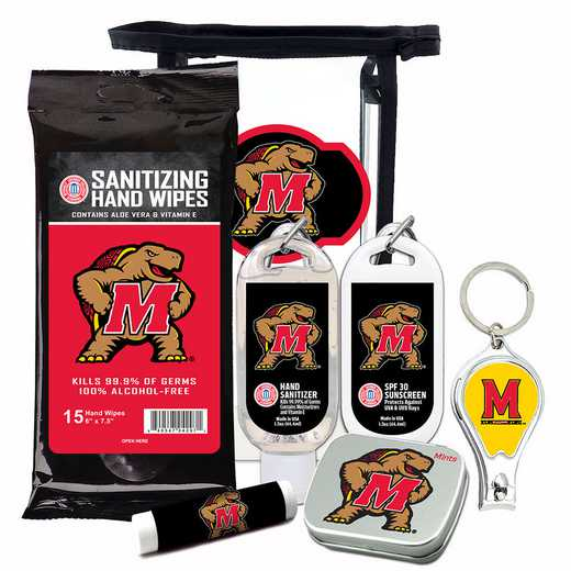 MD-UM-6PPK: Maryland Tarrapins Fan Kit with Mint Tin- Clippers- Sanitizer- Lip Balm- Sunscreen- Wipes