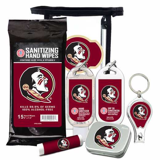 FL-FSU-6PPK: Florida State Seminoles Fan Kit with Mint Tin- Clippers- Sanitizer- Lip Balm- Sunscreen- Wipes