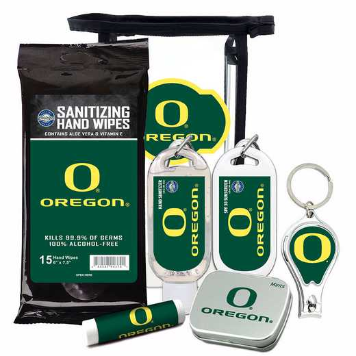 OR-UO-6PPK: Oregon Ducks Fan Kit with Mint Tin- Clippers- Sanitizer- Lip Balm- Sunscreen- Wipes