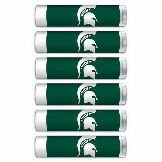 MI-MSU-6PKSM: Michigan State Spartans Premium Lip Balm 6-Pack with SPF 15- Beeswax- Coconut Oil- Aloe Vera
