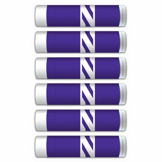 IL-NU-6PKSM: Northwestern Wildcats Premium Lip Balm 6-Pack with SPF 15- Beeswax- Coconut Oil- Aloe Vera