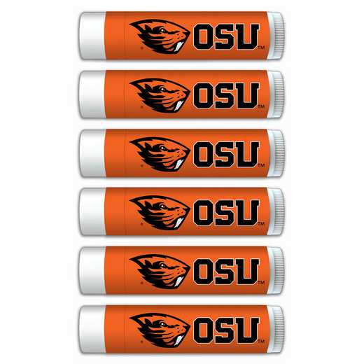 OR-OSU-6PKSM: Oregon State Beavers Premium Lip Balm 6-Pack with SPF 15- Beeswax- Coconut Oil- Aloe Vera