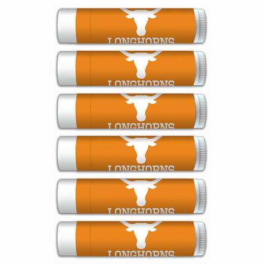 TX-UT-6PKSM: Texas Longhorns Premium Lip Balm 6-Pack with SPF 15- Beeswax- Coconut Oil- Aloe Vera