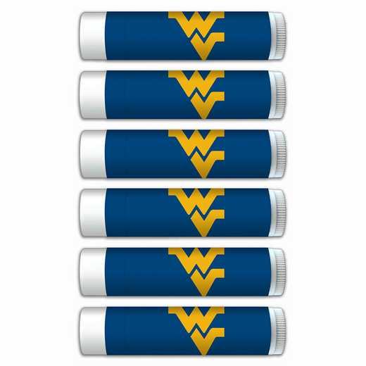 WV-WVU-6PKSM: West Virginia Mountaineers Premium Lip Balm 6-Pack with SPF 15- Beeswax- Coconut Oil- Aloe Vera